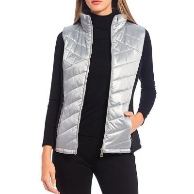 カルバンクライン レディース ジャケット&ブルゾン アウター Quilted Zip-Front Metallic Vest Pearlized Ice