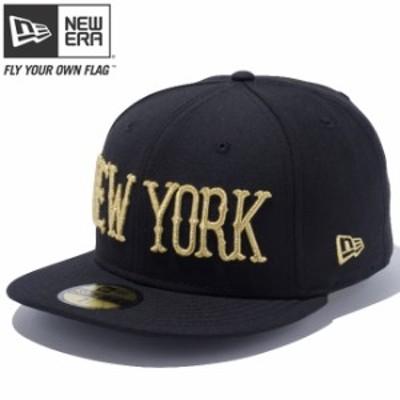 【新品】 ニューエラ 5950キャップ ゴールドロゴ ニューヨーク ブラック メタリックゴールド