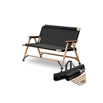 FIELDOOR 折りたたみベンチ クラシックベンチ キャンプ アウトドア フォールディングベンチ 木製 コットン 2人用 簡単組立 収納バッグ付 ロ