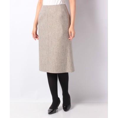 【ラピーヌ ブランシュ】 シルク混ツィード 切り替えスカート レディース ベージュ 38 LAPINE BLANCHE