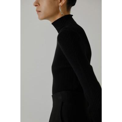 Metal button high neck tops BLK
