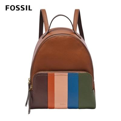 FOSSIL Felicity 多彩條紋真皮後背包-撞色 SHB2689195