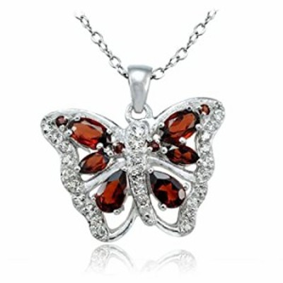 Ice Gems Sterling Silver Garnet and White Topaz Butterfly Necklace