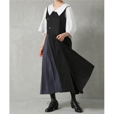 【オシャレウォーカー】 『アシメ配色プリーツジャンパースカート』 レディース ブラック 2(LL~3L) osharewalker
