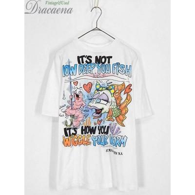 古着 Tシャツ 90s 「WIGGLE」 エド・ロス風 カラフル イラスト オールド 100%コットン ポップ アート Tシャツ L 古着