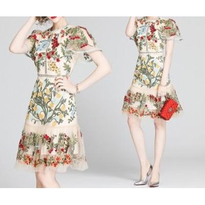 カラフル フラワー 刺繍 フローラル ミニ ドレス 膝上 ワンピース 花柄 花刺繍 ガーリー