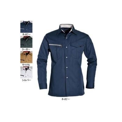 作業服 作業着 秋冬用 バートル 6083 長袖シャツ L ネイビー3 かっこいい