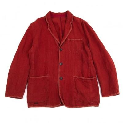 パパスPapas リネンパイピング3Bパッチポケットジャケット 赤48M 【メンズ】