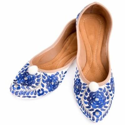 ゴージャス刺繍のマハラニフラットシューズ / パンプス 靴 ペッタンコ靴 インド アジア サンダル レディース エスニック衣料 アジアンフ