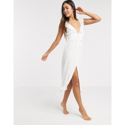 リバーアイランド レディース ワンピース トップス River Island lace frill sleeve midi beach dress in white
