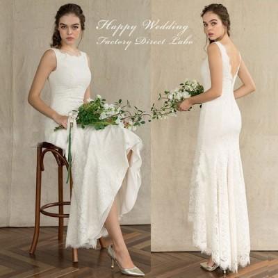 ウェディングドレス フィッシュテール カジュアル シンプル スレンダーライン 海外ウエディング 結婚式/パーティー/ロング/二次会
