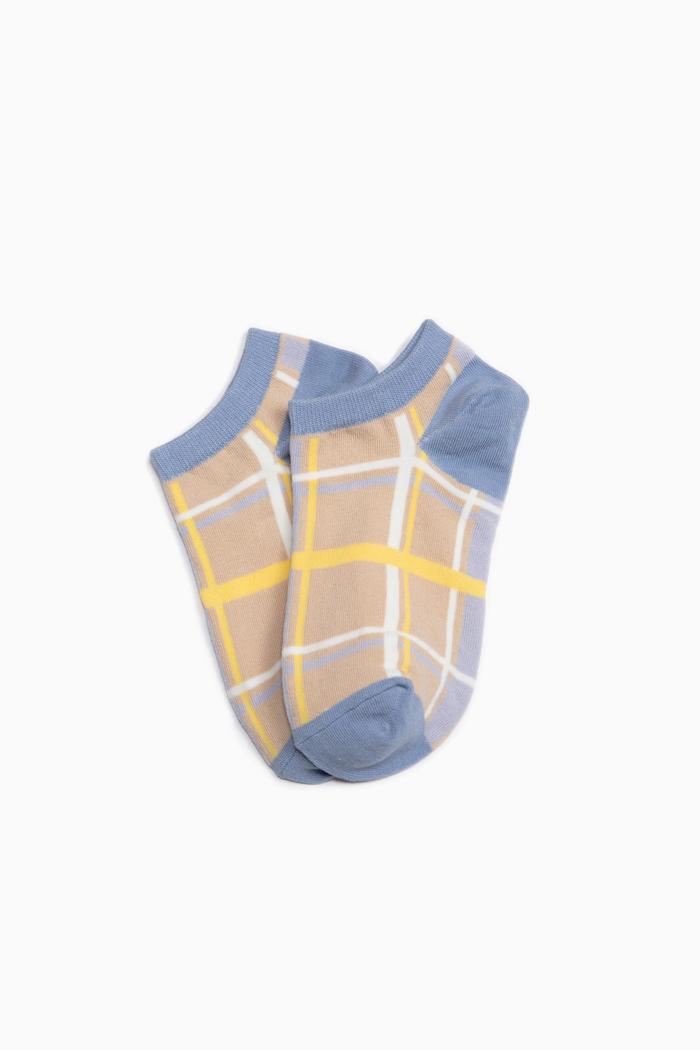 造夢者.舒棉船型襪(米-格紋)