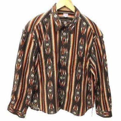 【中古】ナイトクラブ NITEKLUB 20AW Finest Shirt フランネル シャツ 長袖 ネイティブ チンストラップ 42 XL 茶