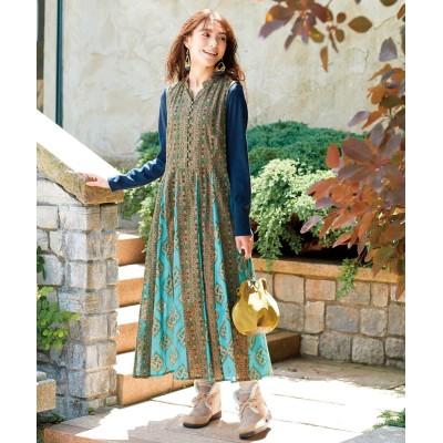【大きいサイズ】 綿100%エスニックプリントワンピース ワンピース, plus size dress