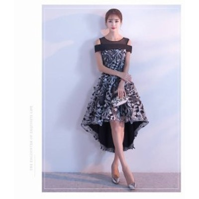 ワンピース ドレス ミニ丈 フィッシュテール オープンショルダー  ブライダル 刺繍 上品 フォーマル 結婚式 20代 春夏 d564