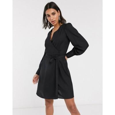 ヴェロモーダ Vero Moda レディース ワンピース ラップドレス ミニ丈 ワンピース・ドレス mini dress with wrap detail in black ブラック