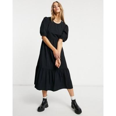 ウエアハウス レディース ワンピース トップス Warehouse tiered cotton midi dress in black