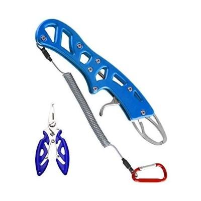 MOCOBO フィッシュグリップ フィッシングプライヤー 2点セット ステンレス アルミ製 魚つかみ 防錆 カラビナ付 釣り用道具 (ブルー)