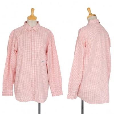 マドモアゼルノンノンMademoiselle NON NON コットンギンガムチェックシャツ ピンク白L位 【レディース】