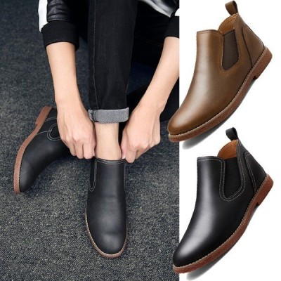 サイドゴアブーツ メンズ ワークブーツ 革靴 レザーシューズ ショートブーツ カジュアル靴
