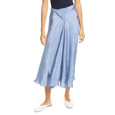 ヴィンス レディース スカート ボトムス Textured Draped Satin Skirt SKY GRAPHITE