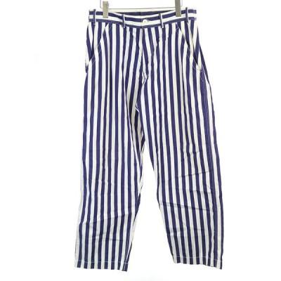 COMME des GARCONS SHIRT コムデギャルソン シャツ ストライプ柄コットンワイドパンツ ブルー S メンズ