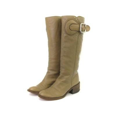 【中古】クロエ CHLOE パディントンブーツ CH7040 ロング スタッズ ベルト レザー 36 ベージュ系 ■SM 靴 レディース 【ベクトル 古着】