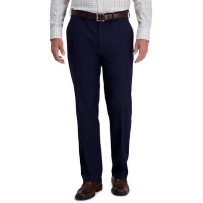 ハガー メンズ カジュアルパンツ ボトムス Men's Heather Diamond Stretch Classic Fit Flat Front Hidden Expandable Waistband Dress Pants