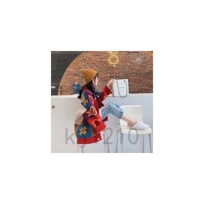 ニットカーディガンレディースセーターアウター秋冬前開き配色長袖ボタンきれいめカジュアルトップス秋冬新作