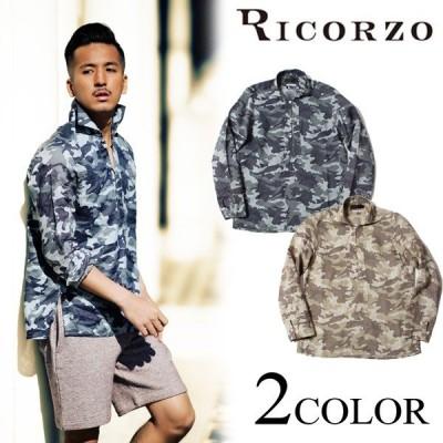 RICORZO リコルゾ カモフラカプリシャツ 迷彩 トップス メンズ 長袖シャツ リネン