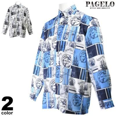 パジェロ PAGELO 長袖ボタンダウンシャツ メンズ 2020春夏 薄手 イカリプリント 総柄 03-1113-07