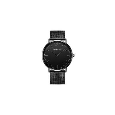 (ブラックケースブラック)VA VA VOOM VA-212フルスチールカジュアルスタイルクォーツ時計超薄型メンズ腕時計