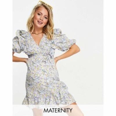 ミスガイデッド Missguided Maternity レディース ワンピース ラップドレス ミニ丈 Wrap Mini Dress With Ruffle Detail In Blue Floral