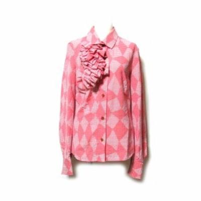 美品 Vivienne Westwood ヴィヴィアンウエストウッド 「40」イタリア製 アシンメトリーフリルブラウス (ピンク 変形) 128213 【中古】