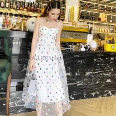 レディースファッション OCEANLOVEスパンコールAラインハイウエストの女性のドレス韓国のファッション夏のドレス水玉Vesti