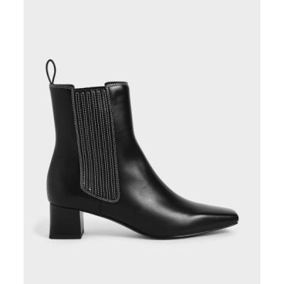 ブーツ ステッチトリム アンクルブーツ / Stitch-Trim Ankle Boots