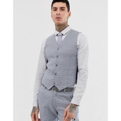 エイソス メンズ タンクトップ トップス ASOS DESIGN wedding super skinny suit vest in gray check linen