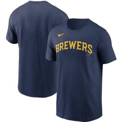 ユニセックス スポーツリーグ メジャーリーグ Milwaukee Brewers Nike Team Wordmark T-Shirt - Navy Tシャツ