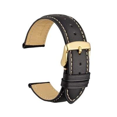 [WOCCI]時計ベルト24mm替えベルト ヴィンテージ 本革腕時計バンド 黒 ゴールドバックル