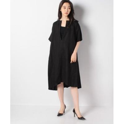 【マーコート】 linen shadow stripe stitch design ワンピース レディース ブラック f MARcourt