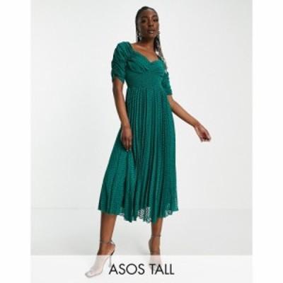 エイソス ASOS Tall レディース ワンピース ASOS DESIGN Tall ruched front pleated midi dress with shirred waist in chevron dobby in