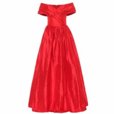 ロサリオ RASARIO レディース パーティードレス ワンピース・ドレス Off-the-shoulder silk-satin gown Red