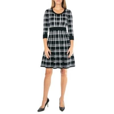ニナレオナルド レディース ワンピース トップス Plaid Scoop Neck Jacquard Dress BLKWHT