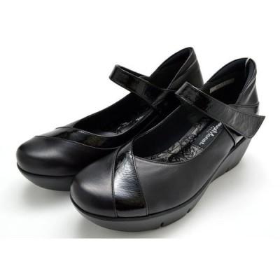 送料無料 カジュアルモネ 88979 Casual Monet カジュアルシューズ ウエッジシューズ レディース 婦人 3E 日本製 ブラック 靴