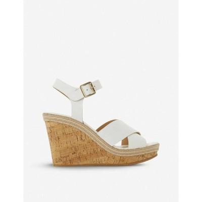 デューン DUNE レディース サンダル・ミュール ウェッジソール シューズ・靴 Karllotta leather cork wedge sandals WHITE-LEATHER