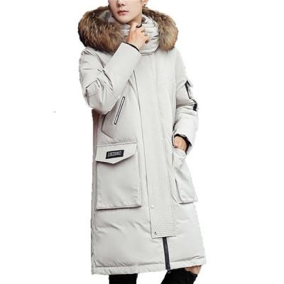 ダウンコート メンズ ロング丈 ダウンジャケット 中綿ダウン フェザー ファーフード付き着脱可 防風防寒 保温性 カジュアル アウトドア