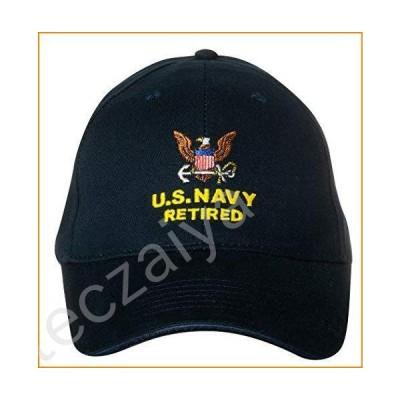U.S. Navy Caps Retired Direct Embroidered Cap, Black, Adjustable並行輸入品