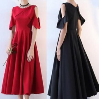 ワンピース ドレス 春 2カラー ロング シンプル 上品 エレガント 可愛い おしゃれ 大人 レディース 結婚式 fe-2623