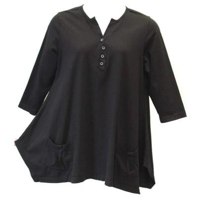 Prairie Cotton Women's Two Pocket Henley Tunic (Large, Black)