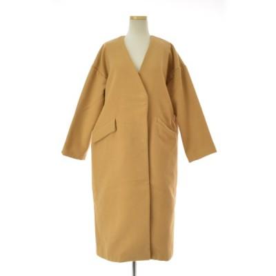 Riche glamour / リシェグラマー ノーカラーダブル コート